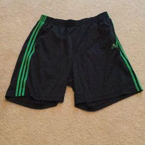 Adidas black & green climalite shorts